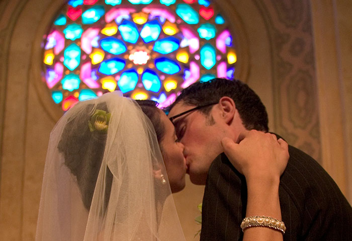 Couple Kissing - Rose Window